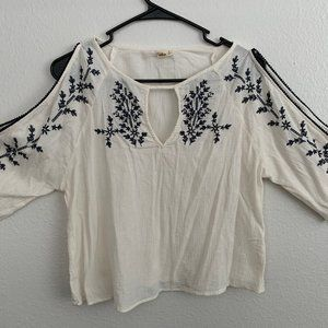 Hollister - Boho Floral Top (Cream and Navy) M